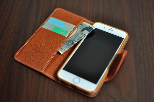 iPhone6 ケース 手帳型 ネイビー/ブラウン